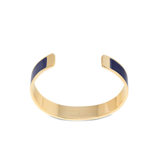 Cleopatra Skinny Cuff Bracelet in Midnight Blue Silk Lizard from Aspinal of London