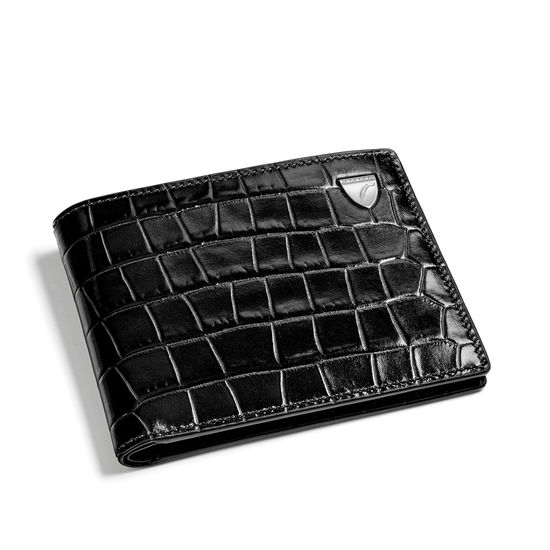 6 Card Billfold Wallet in Deep Shine Black Small Croc from Aspinal of London