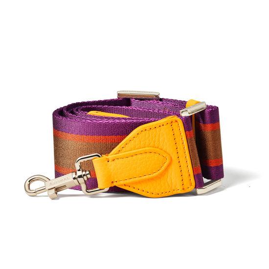 Webbing Bag Strap in Orange, Purple & Camel Stripes from Aspinal of London