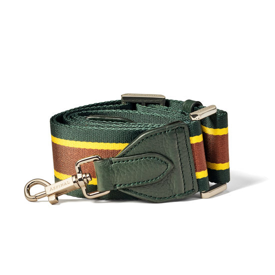 Webbing Bag Strap in Brown, Mandarin & Evergreen Stripes from Aspinal of London