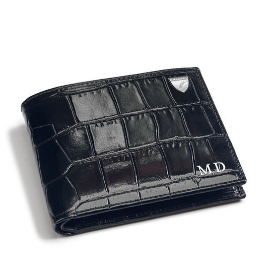 8 Card Billfold Wallet in Deep Shine Black Croc from Aspinal of London
