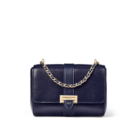 Lottie Bag with Top Handle in Midnight Blue Silk Lizard from Aspinal of London