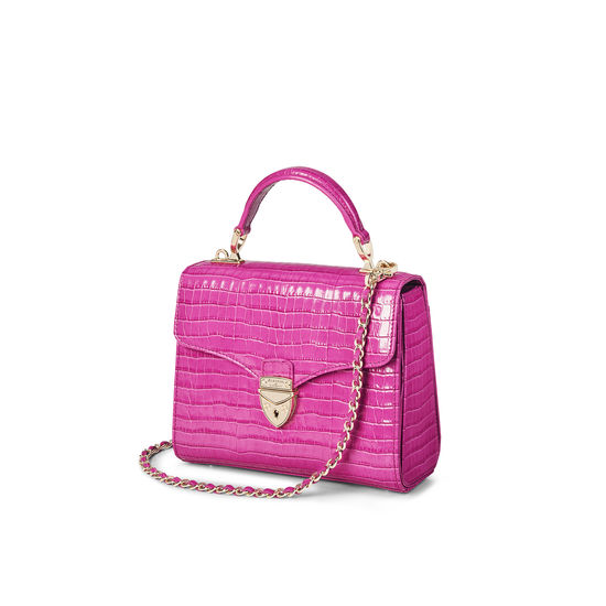 Midi Mayfair Bag in Deep Shine Hibiscus Small Croc from Aspinal of London