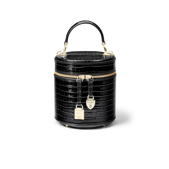Pandora Bag in Deep Shine Black Small Croc from Aspinal of London