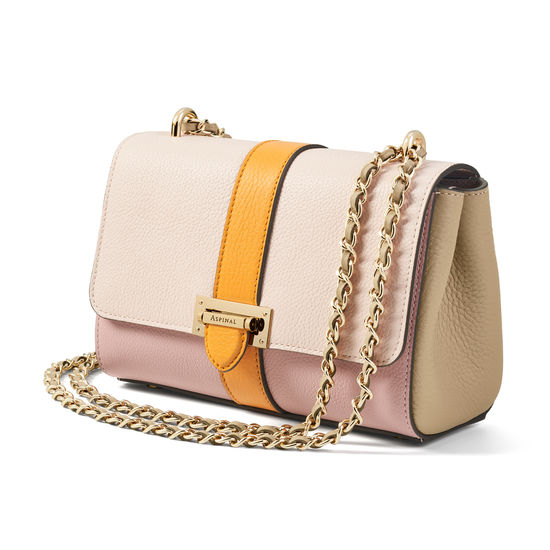 Lottie Bag in Pink, Soft Taupe & Mandarin Pebble from Aspinal of London