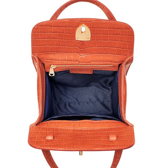 Gigi Bag in Deep Shine Marmalade Small Croc from Aspinal of London