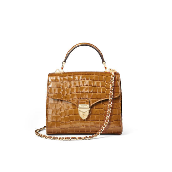Midi Mayfair Bag in Deep Shine Vintage Tan Small Croc from Aspinal of London