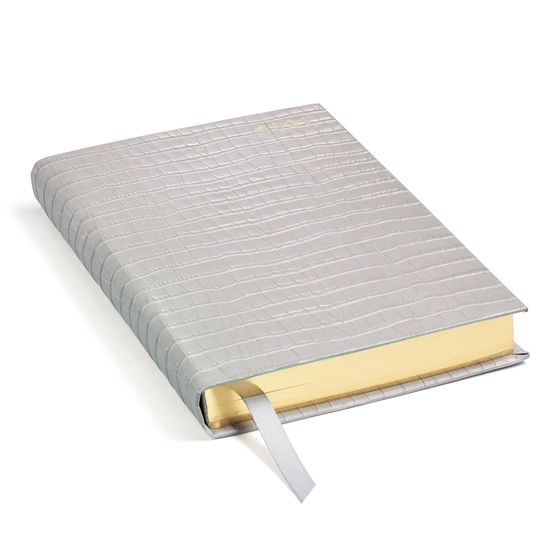 A5 Day to Page Leather Diary in Deep Shine Dove Grey Small Croc from Aspinal of London