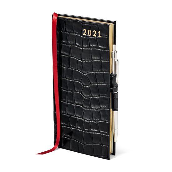 Slim Pocket Leather Diary with Pen in Deep Shine Black Small Croc from Aspinal of London