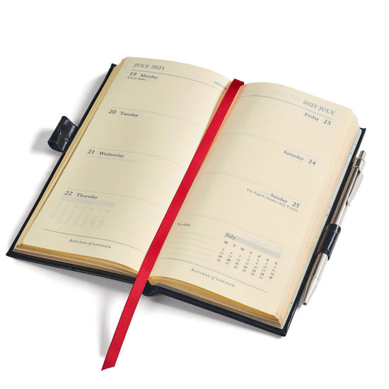 Slim Pocket Leather Diary with Pen in Light Grey Saffiano from Aspinal of London