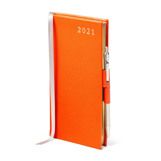 Slim Pocket Leather Diary with Pen in Bright Orange Saffiano from Aspinal of London