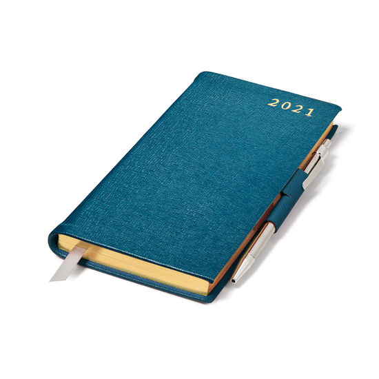 Slim Pocket Leather Diary with Pen in Pewter Blue Saffiano from Aspinal of London