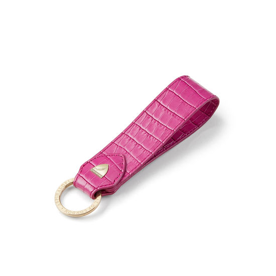 Leather Loop Keyring in Deep Shine Hibiscus Small Croc from Aspinal of London