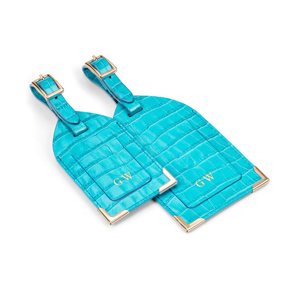 Set of 2 Luggage Tags in Deep Shine Aqua Small Croc from Aspinal of London