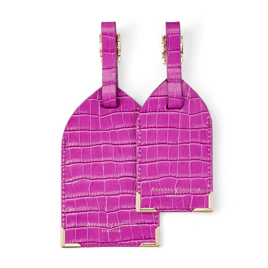 Set of 2 Luggage Tags in Deep Shine Hibiscus Small Croc from Aspinal of London