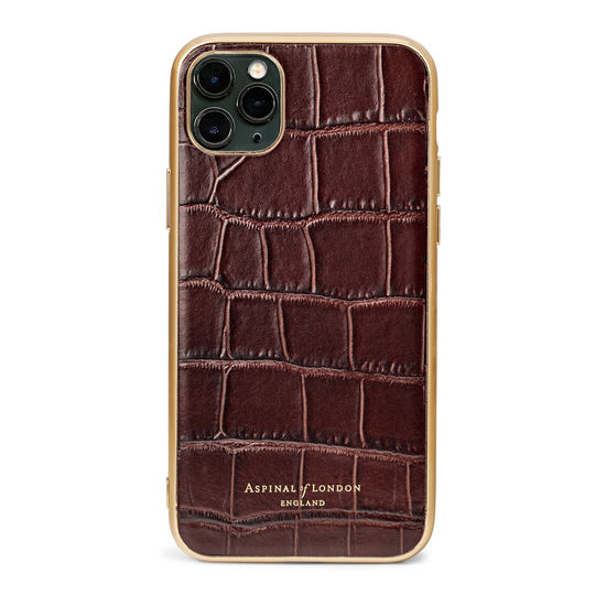 iPhone 11 Pro Max Case with Gold Edge in Deep Shine Amazon Brown Croc from Aspinal of London
