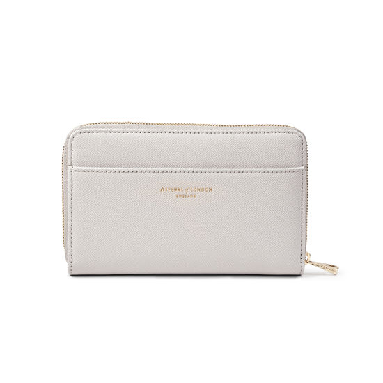 Midi Continental Purse in Light Grey Saffiano from Aspinal of London