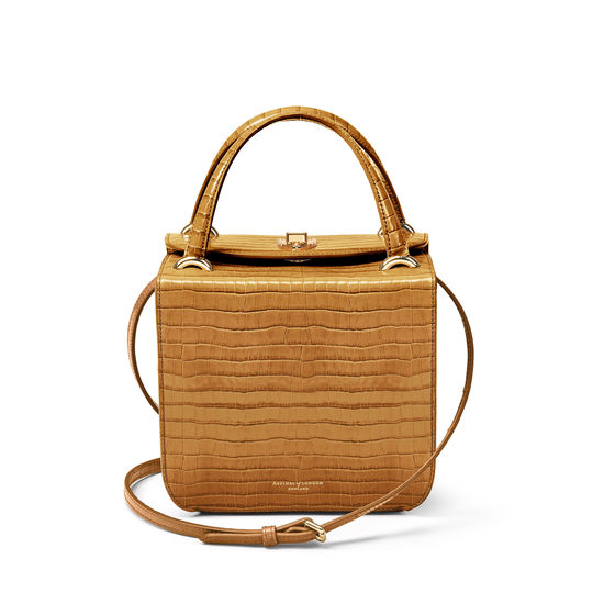 Gigi Bag in Deep Shine Vintage Tan Small Croc from Aspinal of London
