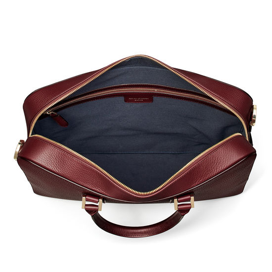 Small Mount Street Laptop Bag in Bordeaux Pebble from Aspinal of London