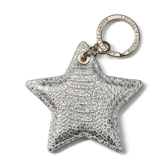 Star Leather Keyring in Silver Python Print from Aspinal of London