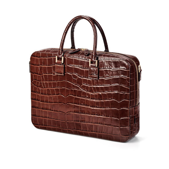 Small Mount Street Laptop Bag in Deep Shine Brown Soft Croc from Aspinal of London