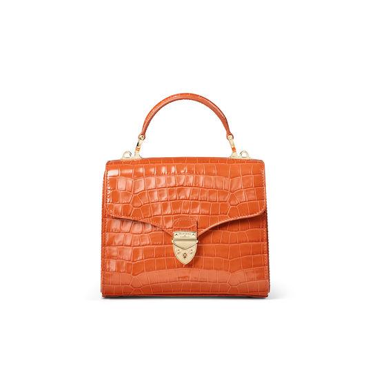 Midi Mayfair Bag in Deep Shine Marmalade Small Croc from Aspinal of London
