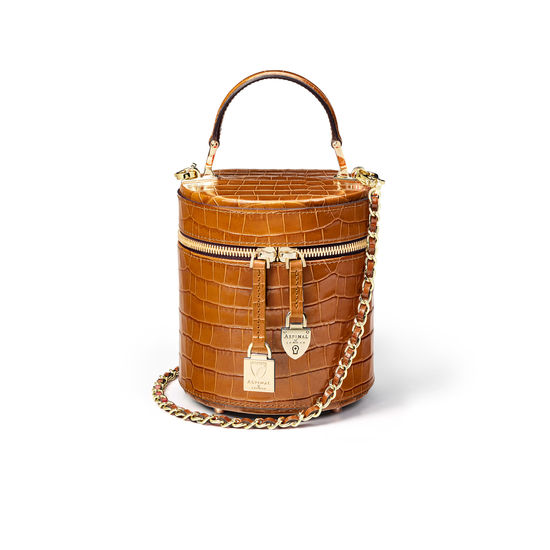 Pandora Bag in Deep Shine Vintage Tan Small Croc from Aspinal of London