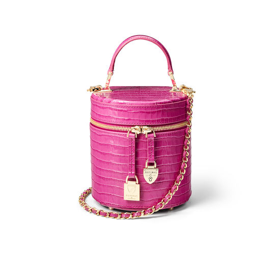 Pandora Bag in Deep Shine Hibiscus Small Croc from Aspinal of London