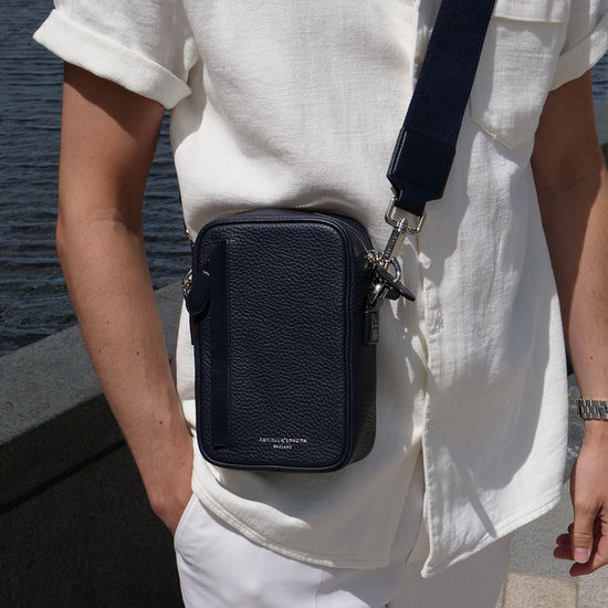 Reporter North South Bag in Navy Pebble from Aspinal of London