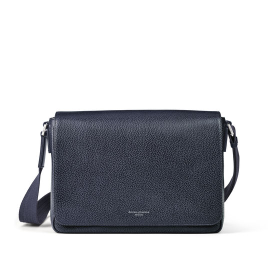 Reporter Messenger Bag in Navy Pebble from Aspinal of London