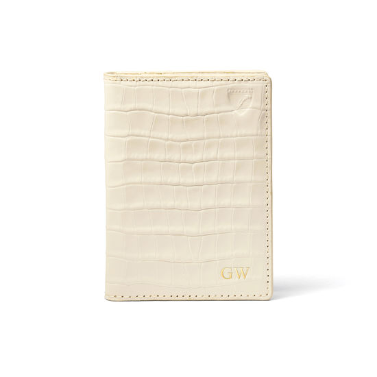 Double Fold Credit Card Holder in Deep Shine Ivory Small Croc from Aspinal of London