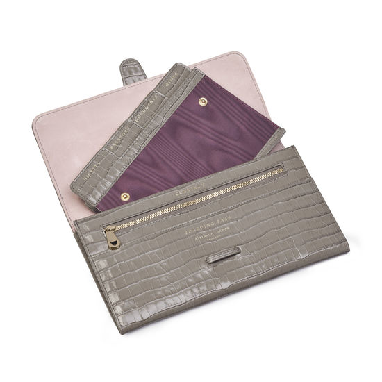 Travel Wallet with Removable Inserts in Deep Shine Warm Grey Small Croc from Aspinal of London