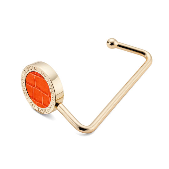 Aspinal Handbag Hook in Deep Shine Marmalade Small Croc from Aspinal of London