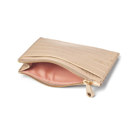 Double Sided Zipped Card & Coin Holder in Soft Taupe Patent Croc from Aspinal of London