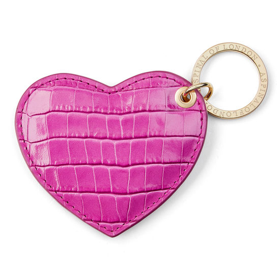 Heart Key Ring in Deep Shine Hibiscus Small Croc from Aspinal of London