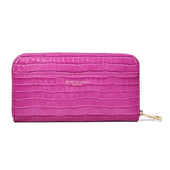 Continental Purse in Deep Shine Hibiscus Small Croc from Aspinal of London