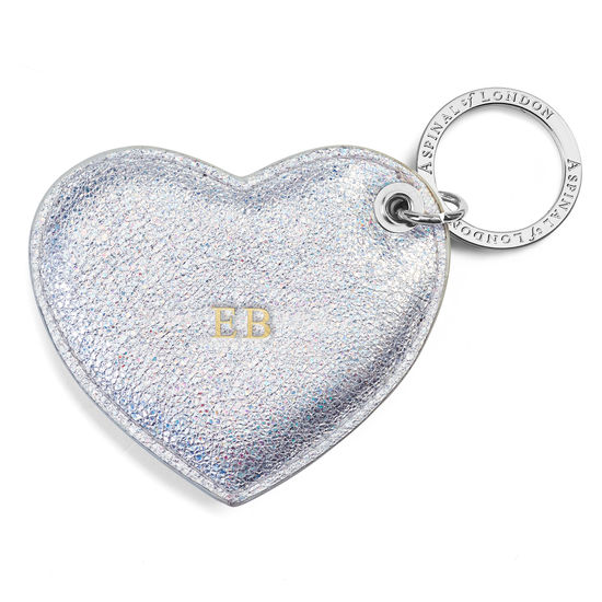 Heart Keyring in Smooth Shooting Star from Aspinal of London