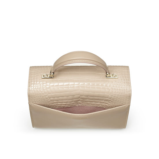 Mayfair Bag in Soft Taupe Patent Croc & Smooth Soft Taupe from Aspinal of London