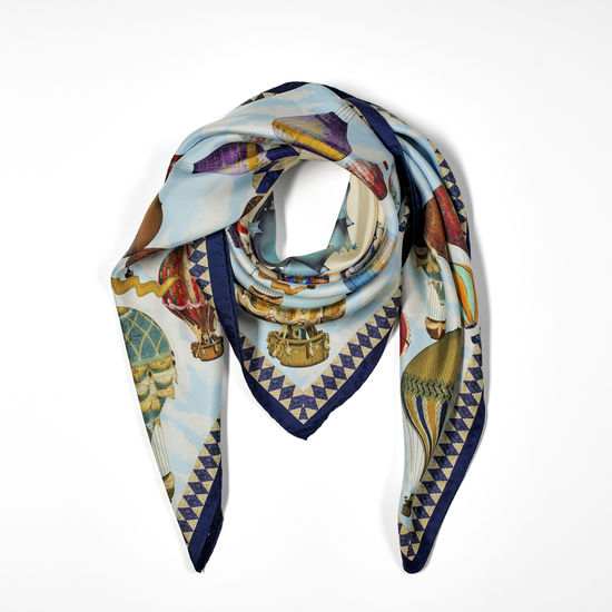Hot Air Balloon Silk Scarf in Navy Pure Silk Twill from Aspinal of London