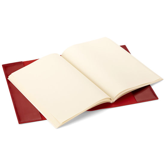 Rustic A4 Refillable Leather Journal in Smooth Red from Aspinal of London