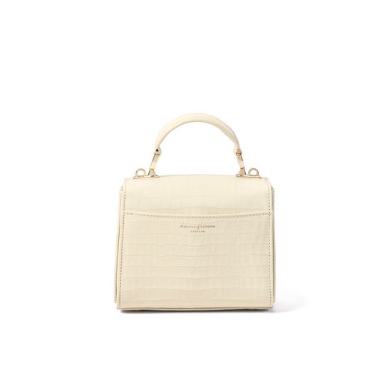 Mini Mayfair Bag in Deep Shine Ivory Small Croc from Aspinal of London