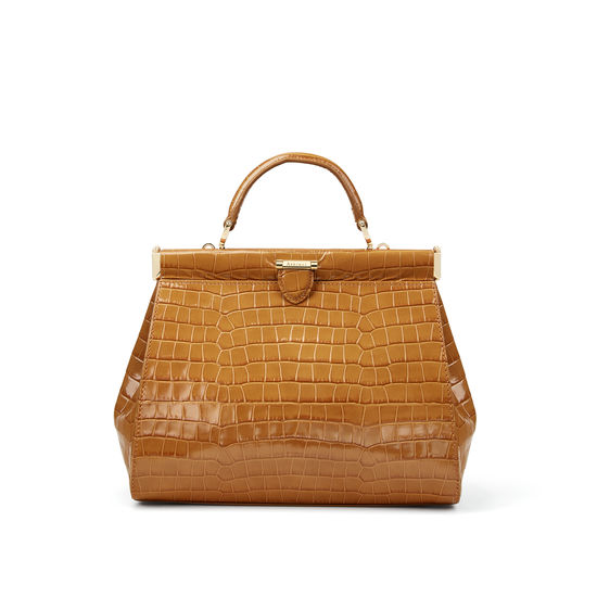 Small Florence Frame Bag in Deep Shine Vintage Tan Small Croc from Aspinal of London