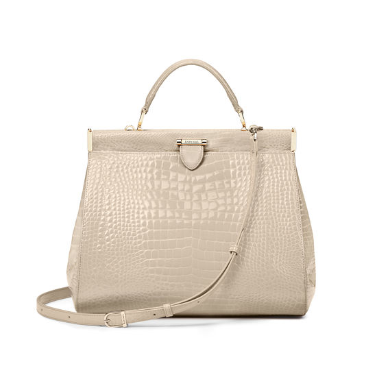 Large Florence Frame Bag in Soft Taupe Patent Croc from Aspinal of London