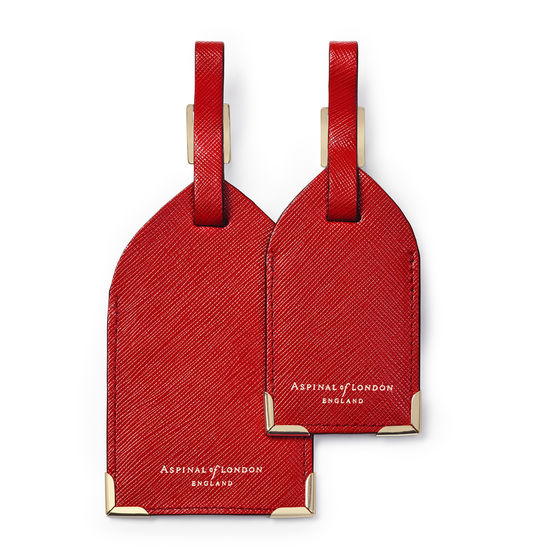 Set of 2 Luggage Tags in Scarlet Saffiano from Aspinal of London