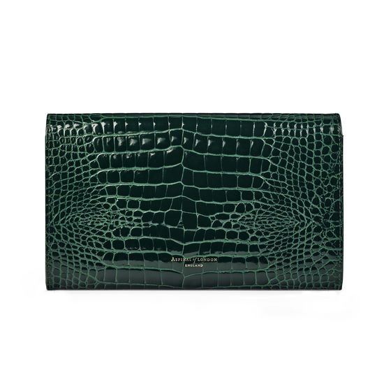 Travel Wallet with Removable Inserts in Evergreen Patent Croc from Aspinal of London