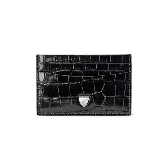 Slim Credit Card Holder in Deep Shine Black Croc from Aspinal of London