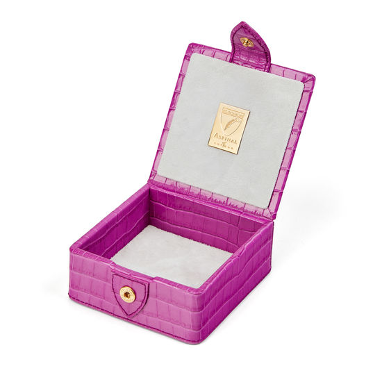 Stud Box in Deep Shine Hibiscus Small Croc from Aspinal of London
