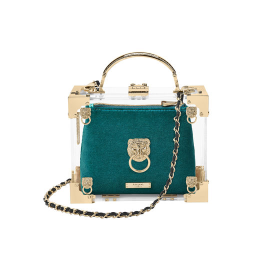 Trunk Pouch in Aqua Velvet from Aspinal of London