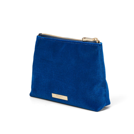 Trunk Pouch in Royal Blue Velvet from Aspinal of London