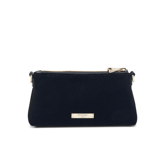 Trinket Box Internal Pouch in Black Velvet from Aspinal of London